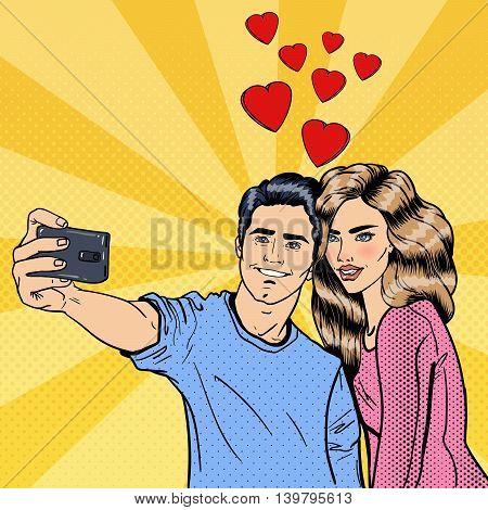 Young Loving Couple Making Selfie on Smartphone. Pop Art. Vector illustration