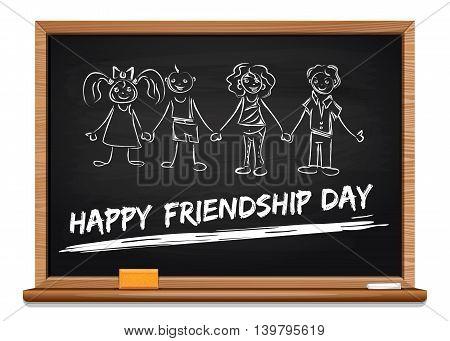 International Friendship Day concept design. Inscription in chalk on a blackboard - Happy Friendship Day. Vector illustration