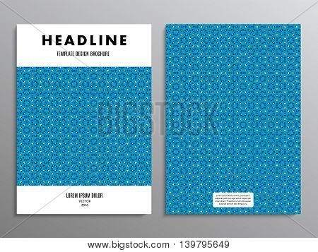 business brochure template or layout design flyer in A4 size with abstract blue pattern on background. stock vector illustration eps10