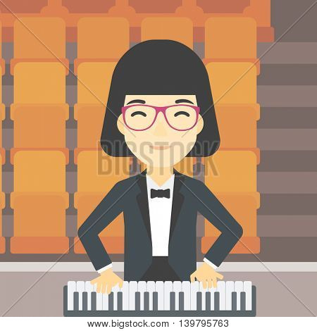 An asian smiling musician playing piano. Pianist playing upright piano. Female artist playing on synthesizer. Vector flat design illustration. Square layout.