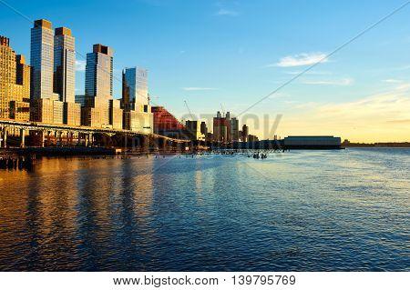 Riverside neighborhood in New York City at sunset