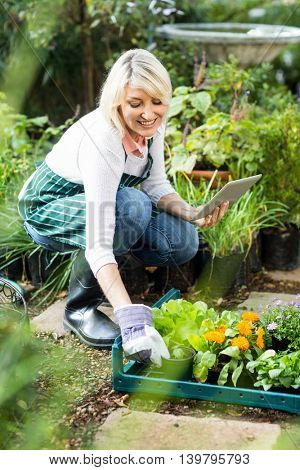 Happy female gardener using tablet computer while working at greenhouse