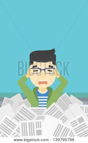 An asian stressed man clutching his head because of having a lot of work to do. Busy businessman with lots of papers. Vector flat design illustration. Vertical layout.