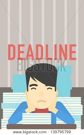 An asian stressed businessman sitting at the table with stacks of papers. Businessman having problem with deadline. Deadline concept. Vector flat design illustration. Vertical layout.