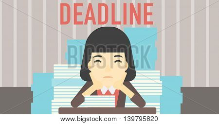 An asian stressed business woman sitting at the table with stacks of papers. Business woman having problem with deadline. Deadline concept. Vector flat design illustration. Horizontal layout.