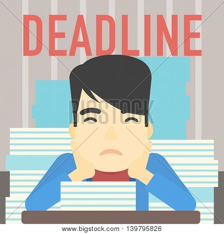 An asian stressed businessman sitting at the table with stacks of papers. Businessman having problem with deadline. Deadline concept. Vector flat design illustration. Square layout.