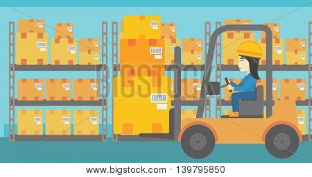 An asian warehouse worker loading cardboard boxes. Forklift driver at work in storehouse. Warehouse worker driving forklift at warehouse. Vector flat design illustration. Horizontal layout.