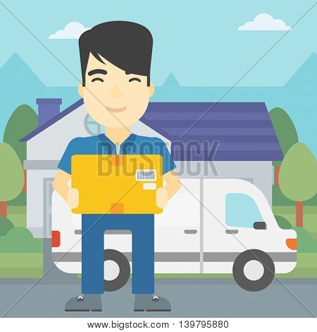 An asian delivery man with box on background of delivery truck. Delivery man carrying cardboard box. Man with a box in his hands. Vector flat design illustration. Square layout.