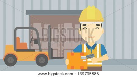 An asian warehouse worker scanning barcode on box. Warehouse worker checking barcode of box with a scanner. Man in hard hat with scanner. Vector flat design illustration. Horizontal layout.