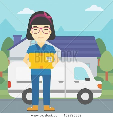 An asian delivery woman with a cardboard box standing on background of delivery truck. Woman with a cardboard box in her hands. Vector flat design illustration. Square layout.