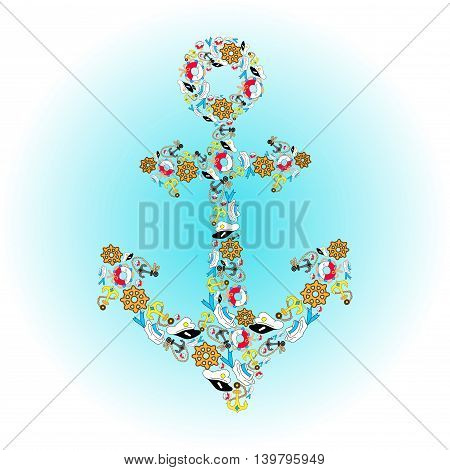 You are my anchor. Cute navy illustration for holidays. Card for Valentines Day, Wedding. Typographical Background. Beach. Summer. Marine. Vacation