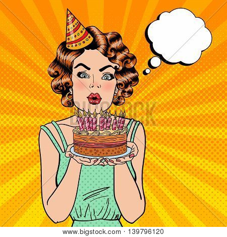 Pretty Happy Girl Blowing Candles on Birthday Cake and Making a Wish. Pop Art. Vector illustration