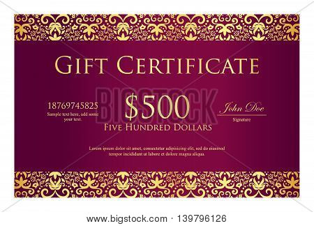 Vintage purple gift certificate with golden ornament pattern as decoration
