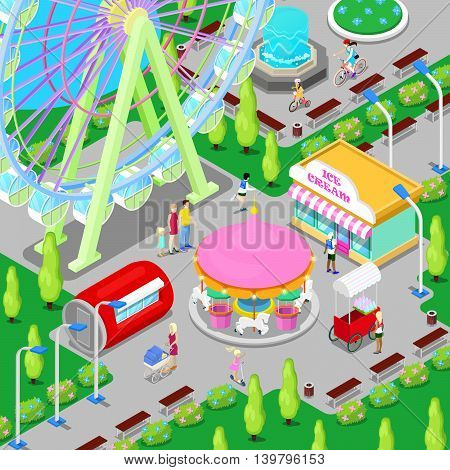Isometric Amusement Park with Carousel Ferris Wheel and Children. Vector illustration