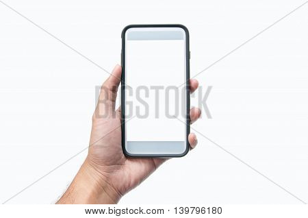 Mobile phones in the hands of a white background.
