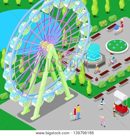 Isometric Amusement Park with Ferris Wheel and Children. Vector illustration
