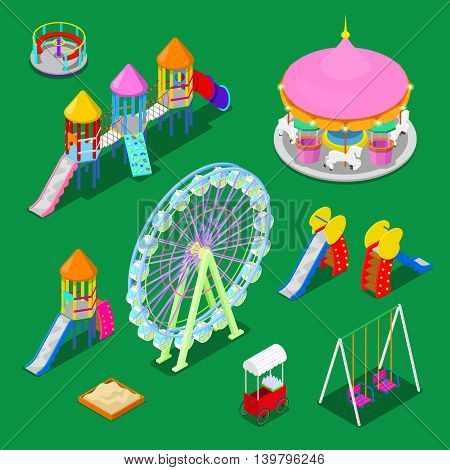 Isometric Children Playground Elements Sweengs, Carousel, Slide and Sandbox. Vector illustration