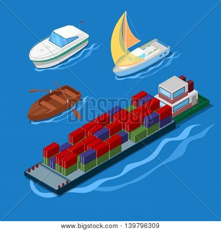 Isometric Icon Set with Container Ship Vacation Yacht and Boats. Vector illustration