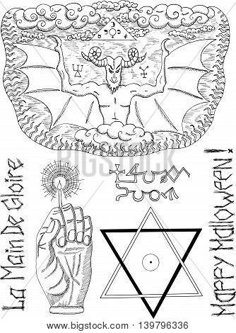 Halloweeb set with devil, pentagram and mystic symbols