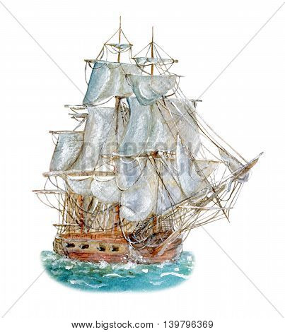 Watercolor drawing of sailing vessel isolated on white