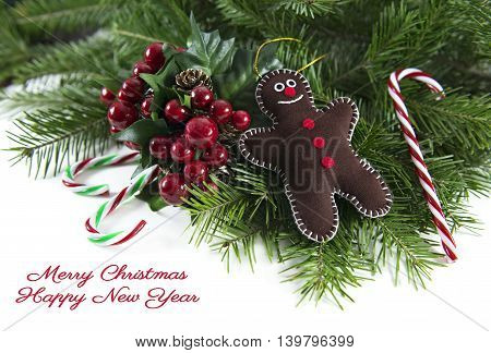 Gingerbread man with canes and berries on white
