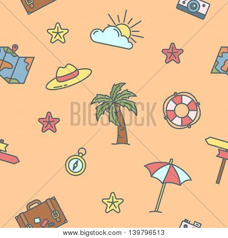 Summer Time. Sea Vacation Seamless Pattern with Palm Tree and Map. Vector background