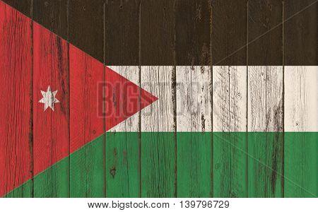 Flag of Jordan painted on wooden frame