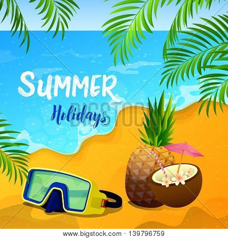 Summer Holidays Background with Tropical Seascape and Palm Leaves. Vector illustration