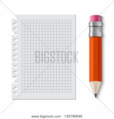 Realistic yellow pencil icon. Vector illustration. pencil wih eraser. note sheet