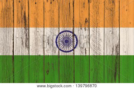 Flag of India painted on wooden frame
