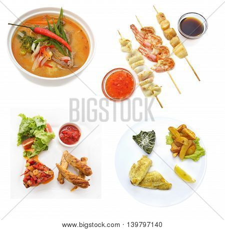 Lunch set with various fish and meat main dishes, restaurant menu
