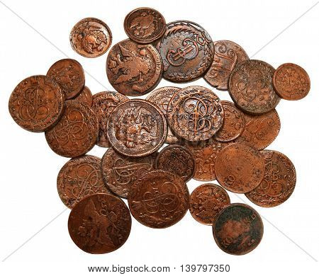 Ancient Russian coins isolated on white, old money