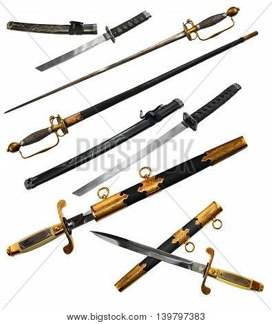 Set with different types of swords including katana, small sword and dagger with scabbard isolated on white