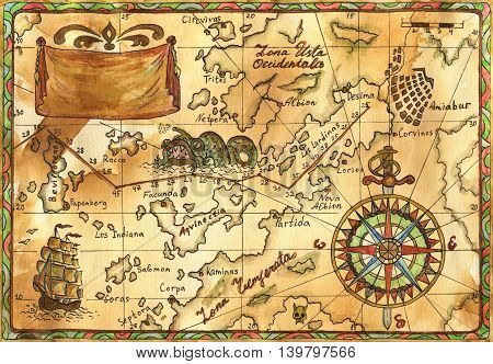 Hand drawn illustration of old pirate map with continents and islands, sailing ship, rose of winds and banner with copy space on faded paper background