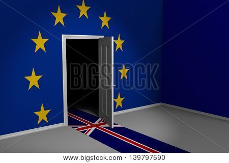 United Kingdom and European Union Brexit concept of Britain leaving through a door, 3D rendering