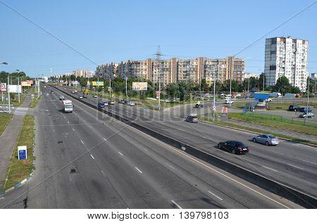 Street,cars, traffic .Residential area of Kiev.July 22 ,2016 in Kiev, Ukraine
