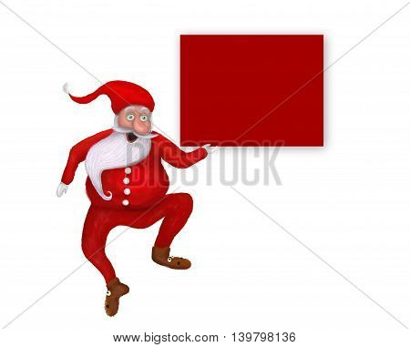 Isolated original Dancing Christmas Santa Claus over blank greeting copy space card