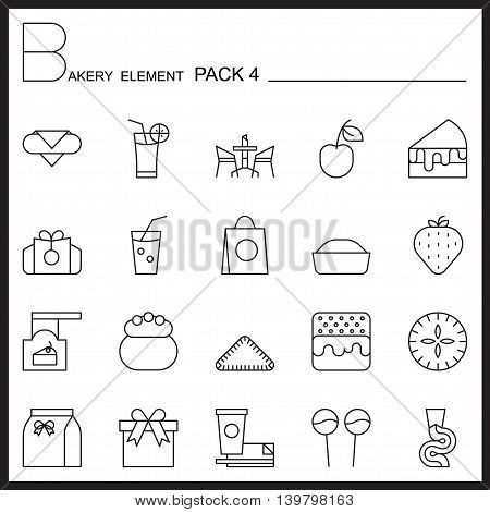 Bakery line icons set.Mono icons pack 4.Pictagram outline.
