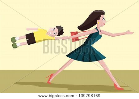 mother hurrying with the child - funny colorful cartoon illustration