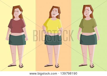 plain woman character with different expressions - funny cartoon with angry, laughing, sad female character