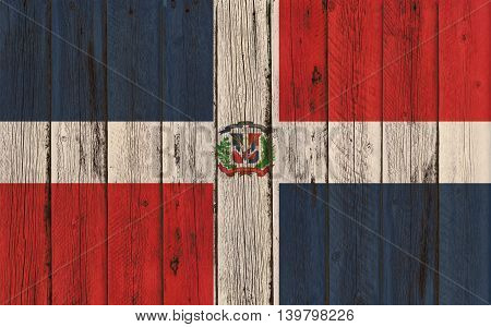 Flag of Dominican Republic painted on wooden frame