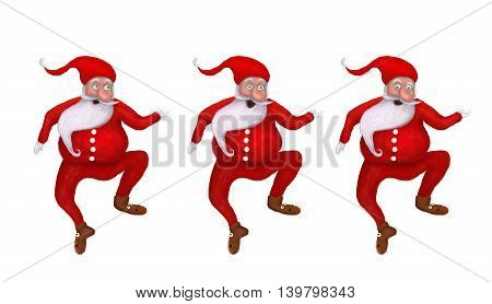 Cartoon Illustration set of Funny three Christmas Santa Clauses