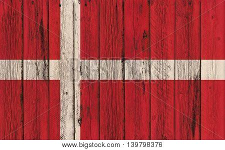 Flag of Denmark painted on wooden frame