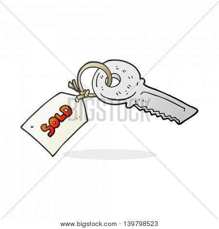 freehand drawn cartoon key with sold tag