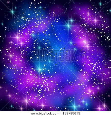Blue and Pink Space Clouds with Shining Stars. Vector illustration. Glowing Galaxy in Black Night Sky.