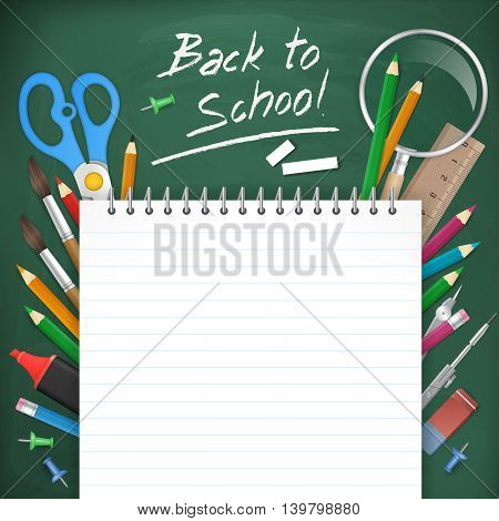 back to school poster background. Blank notepad paper on chalkboard with school supplies. vector illustration. isolated object.