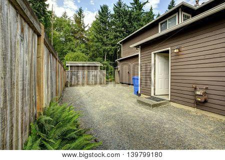 Empty Fenced Backyard