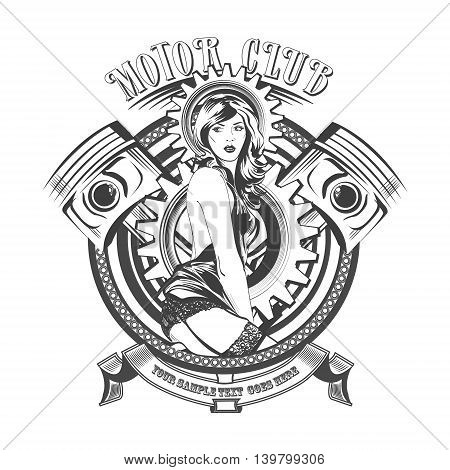 Vintage Motor Club Signs and Label with a beautiful woman.