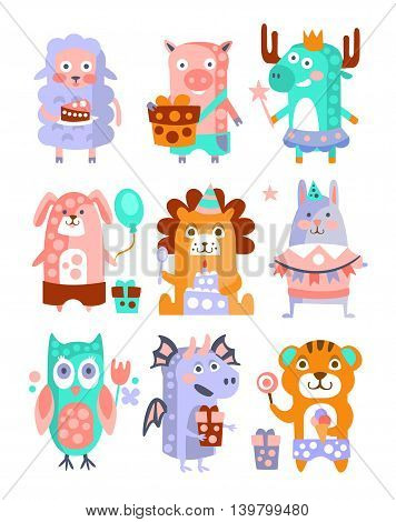 Stylized Funky Animals Birthday Party Sticker Set. Stylized Colorful Flat Vector Illustrations For Kids On White Background,