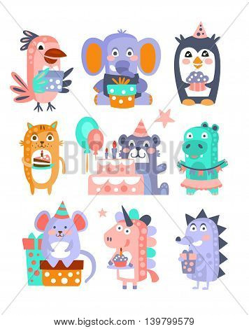 Stylized Funky Animals Birthday Celebration Sticker Set.Stylized Colorful Flat Vector Illustrations For Kids On White Background,